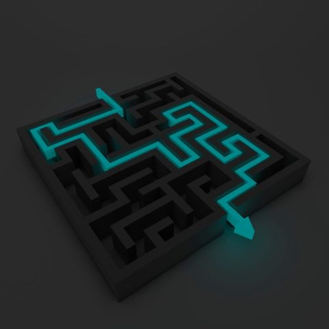 Maze with the path shown