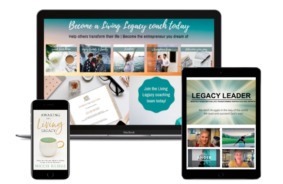 graphic about Living Legacy Coaching on computer, tablet, and phone