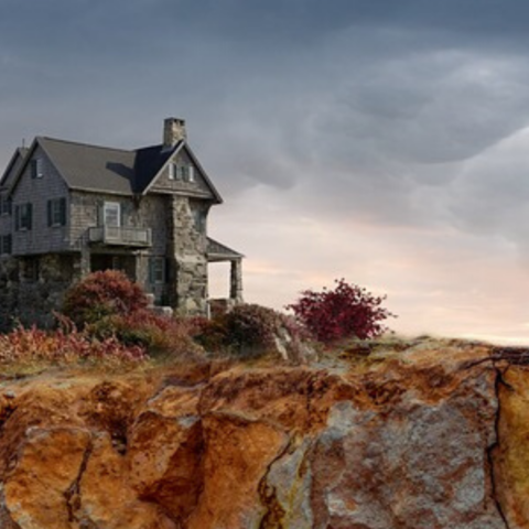 Stone house on a cliff
