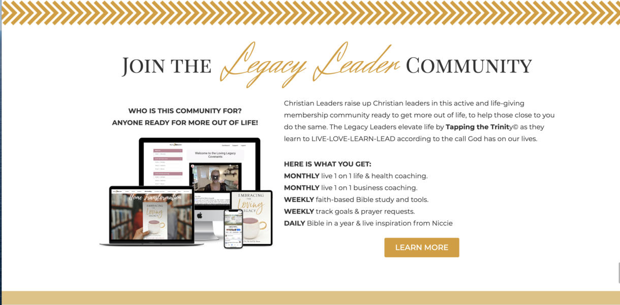 screen shot of the Legacy Leader program where you Hear the voice of God